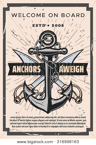 Nautical Vintage Poster, Welcome On Board Marine Sailing Adventure. Vector Nautical Ship Anchor With