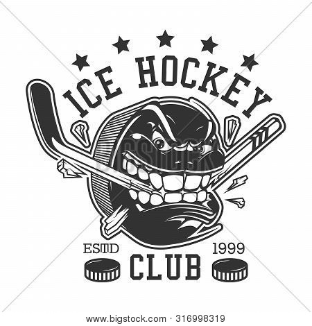 Ice Hockey Club Or College League T-shirt Print Template. Vector Ice Hockey Sport Team Mascot Badge