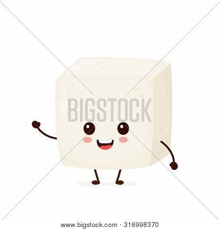 Happy Cute Smiling Funny Tofu. Vector Flat Cartoon Character Illustration Icon Design.isolated On Wh