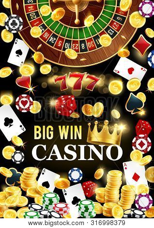 Casino Poker And Wheel Of Fortune Gambling Game Poster. Vector Casino Roulette Jackpot Big Win, Doll