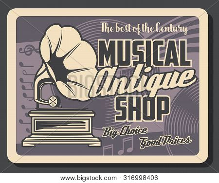 Retro Musical Instruments Shop And Antique Music Salon Vintage Poster. Vector Music Notes, Phonograp