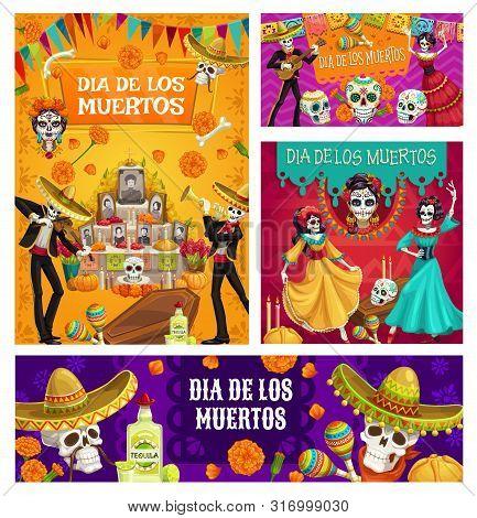 Day Of Dead Vector Sugar Skulls, Mariachi Skeletons And Catrina Calavera, Mexican Dia De Los Muertos