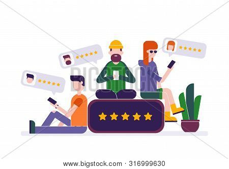 Young People Leave 5 Star Rating Review Feedback In Smartphone. Vector Modern Flat Geometry Style Il