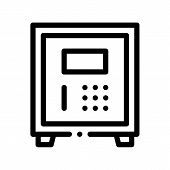 Electronic Safe Deposit Thin Line Icon. Safe Deposit For Guests Valuables, Hotel Performance Of Service Equipment Linear Pictogram. Business Hostel Items Monochrome Contour Illustration poster