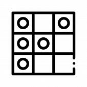Interactive Kids Game Draughts Vector Sign Icon Thin Line. Baby Education Play Table Game Checks Children Playing Gaming Items Pieces Linear Pictogram. Joyful Things Monochrome Contour Illustration poster