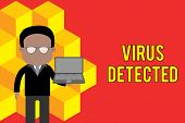 Word writing text Virus Detected. Business concept for A computer program used to prevent and remove malware Standing man in suit wearing eyeglasses holding open laptop photo Art. poster