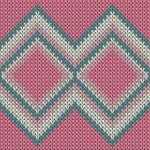 Geometric knitted seamless pattern vector design. Pink ray white winter jumper knitwear fabric print. Fairisle knitted seamless pattern in traditional christmas style. poster