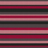 Elegant striped knitted seamless pattern vector design. Red black winter jumper knitwear fabric print. Sweater nordic knitted seamless pattern in traditional christmas style. poster