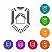 Grey line House under protection icon isolated on white background. Home and shield. Protection, safety, security, protect, defense concept. Set icons in color circle buttons. Vector Illustration poster