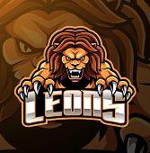 Lion head esport mascot logo design with text poster