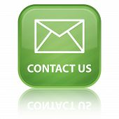 a contact us icon with envelope icon on glossy green button with reflection. poster