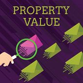 Text sign showing Property Value. Conceptual photo Worth of a land Real estate appraisal Fair market price Magnifying Glass on One Different Color Envelope and others has Same Shade. poster