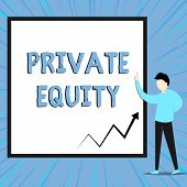 Word writing text Private Equity. Business concept for Capital that is not listed on a public exchange Investments View young man standing pointing up blank rectangle Geometric background. poster