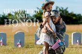 military father in uniform hugging child near headstones in graveyard with remember and honor illustration poster