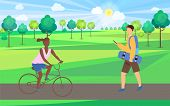 Woman sitting on bicycle, man holding skateboard and phone, skateboarder and bicyclist in park, sunny weather and green plants, activity outdoor vector poster