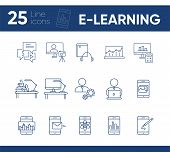 E-learning line icon set. Smartphone, computer, workstation. tutorial concept. Can be used for topics like web design, technology, education poster