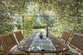 Garden Table And Chairs Surrounded With Jasmine Flowers