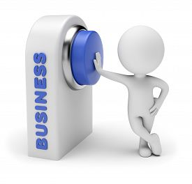3d Small People - Easy Go Into Business. Pushing Blue Button On Control Board Having Word Business.