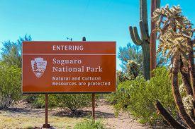 Entering Saguaro National Park Sign - Tucson Ariona - Nov 1, 2018