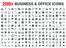 Set Vector Business Icons Glyph Set. Icons For Business, Management, Finance, Strategy, Marketing An