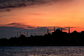 Istanbul skyline on sunset