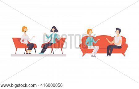 People Taking Part On Tv Show Set, Tv Host Interviewing Participants In Studio Cartoon Vector Illust