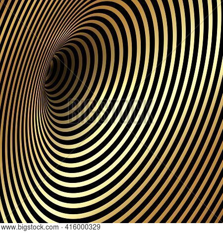 Wormhole Optical Illusion, Geometric Black And Golden Luxury Abstract Hypnotic Worm Hole Tunnel, Abs