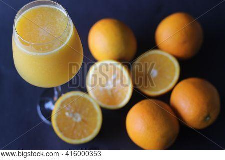 Glass Of Kinnow Juice. It Is Juicier Than Orange And Has More Sour Taste.