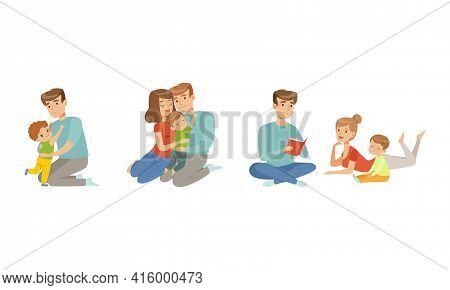 Cheerful Parents Nursing And Playing With Kids Set, Happy Parenting Concept Cartoon Vector Illustrat