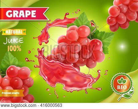 Red Grape Juice Advertising On Green Background. Fruit Juice Splash Pink Grape Poster. 3d Realistic