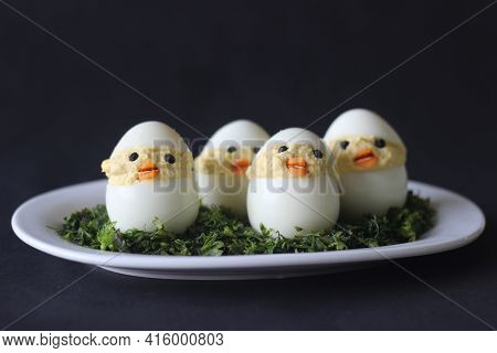 Devilled Egg Chicks Prepared As Easter Eggs. Traditional Celebration Of Making Eggs As The Symbol Of