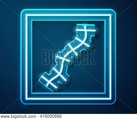 Glowing Neon Line Scar With Suture Icon Isolated On Blue Background. Vector