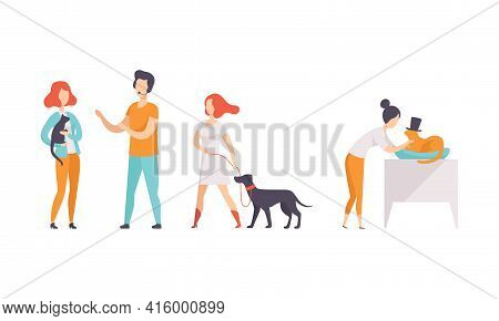 Pet Show Competition Set, Owners With Purebred Dogs And Cats Taking Part In Contest Vector Illustrat
