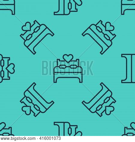Black Line Bedroom Icon Isolated Seamless Pattern On Green Background. Wedding, Love, Marriage Symbo