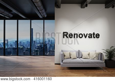 Luxury Loft With Skyline View And Vintage Couch, Wall With Renovate Lettering, 3d Illustration