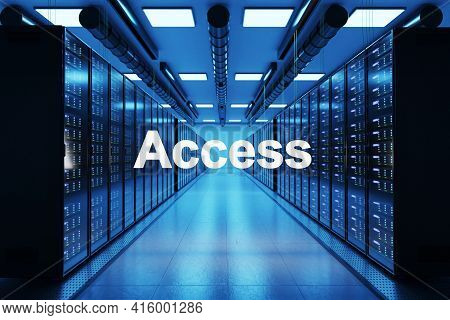 Access Logo In Large Data Center With Multiple Rows Of Network Internet Server Racks, 3d Illustratio