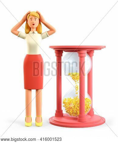 3d Illustration Of Confused Beautiful Blonde Woman Standing Next To A Huge Hourglass And Clutching H