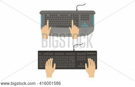 Top View Of Male Hands On Computer Keyboard Set Vector Illustration