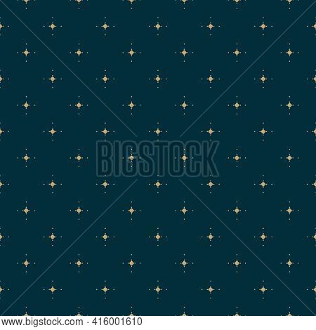 Golden Vector Minimalist Seamless Pattern With Small Diamond Shapes, Stars, Rhombuses, Dots. Abstrac