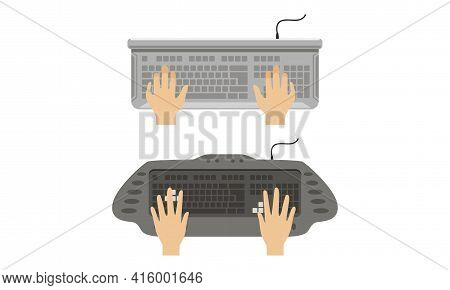 Top View Of Male Hands Typing On Computer Keyboard Set Vector Illustration