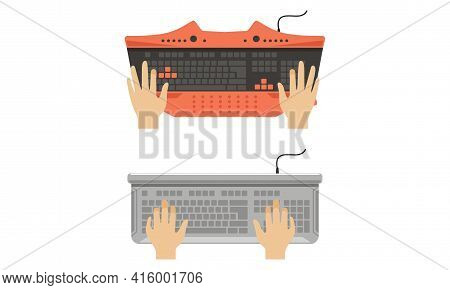 Computer Keyboard And Typing Hands Of User Set Vector Illustration