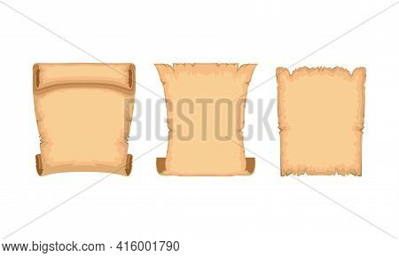 Ancient Papyrus Scrolls Set, Old Paper Parchments With Space For Text Vector Illustration