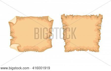 Ancient Papyrus Set, Old Texture Paper With Space For Text Vector Illustration