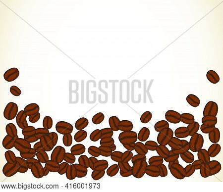 Scattered Roasted Coffee Beans Blank White Frame. Graphic Cafe Menu Template Vector Illustration.