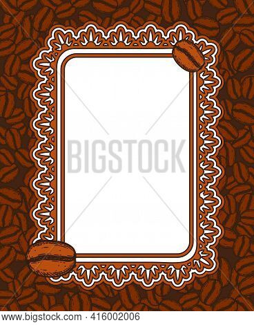 Scattered Roasted Coffee Beans Blank Ornate Frame. Graphic Cafe Menu Template Vector Illustration.