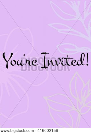 You're invited written in black letters, with white flowers on invite with pink background. celebration invitation template design with specified copy space, digitally generated image.