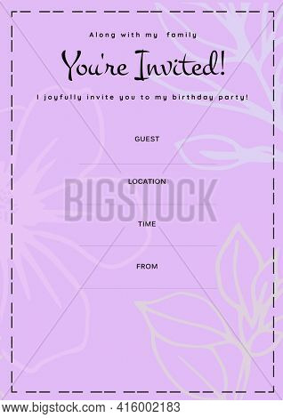 You're invited written in black with white flowers, invite with details space on pink background. celebration invitation template design with specified copy space, digitally generated image.
