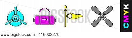 Set Plane Propeller, Suitcase, Cone Meteorology Windsock Wind Vane And Plane Propeller Icon. Vector