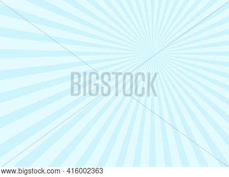 Sunlight Rays Background. Powder Blue Color Burst Background. Vector Sky Illustration. Sun Beam Ray