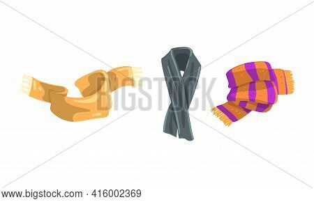 Scarf Collection, Garment For Cold Weather, Knitted Scarves For Winter And Autumn Season Vector Illu
